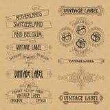 Old vintage floral elements - ribbons, monograms, stripes, lines, angles, border, frame, label, logo Stock Photo