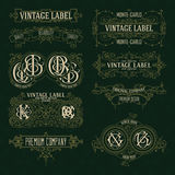 Old vintage floral elements - ribbons, monograms, stripes, lines, angles, border, frame, label, logo Stock Image