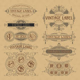 Old vintage floral elements - ribbons, monograms, stripes, lines, angles, border, frame, label, logo Stock Images