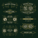Old vintage floral elements - ribbons, monograms, stripes, lines, angles, border, frame, label, logo Stock Photos