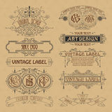 Old vintage floral elements - ribbons, monograms, stripes, lines, angles, border, frame, label, logo. Old vintage floral elements : ribbons monograms stripes Royalty Free Stock Photography
