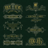 Old vintage floral elements - ribbons, monograms, stripes, lines, angles, border, frame, label, logo. Old vintage floral elements : ribbons monograms stripes royalty free illustration