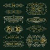Old vintage floral elements - ribbons, monograms, stripes, lines, angles, border, frame, label, logo Royalty Free Stock Image