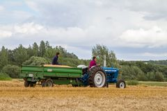 Old vintage ford 4000 tractor and trailer in crop field Stock Photo