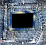 Old vintage frame on jeans background Royalty Free Stock Image