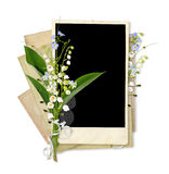 Old vintage frame with lily of the valley Stock Images
