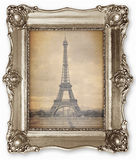 Old vintage frame with stylised Eiffel Tower Photo on canvas. royalty free stock photography