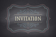 Old vintage frame with text Invitation Royalty Free Stock Photo