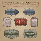 Old vintage frames elements labels Congratulation Royalty Free Stock Photos