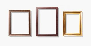 Old vintage frames , wood picture frame isolate on white background.  royalty free stock photo