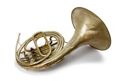 Old vintage French horn stock photos