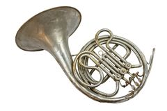 Old vintage French horn stock photography