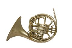 Old vintage French horn stock images
