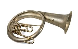 Old vintage French horn royalty free stock photo