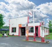 1920 1930 era garage gas station. Royalty Free Stock Image