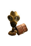 Old vintage gas mask and canister Stock Photography