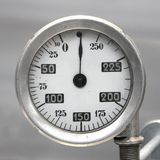 Old Vintage German Airplane Fuel gage, scale with an arrow, , 0-250 liters.  stock images
