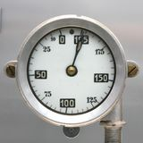 Old Vintage German Airplane Fuel gage, scale with an arrow, , 0-195 liters.  royalty free stock images