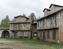 The old vintage ghost town, with ragged houses Royalty Free Stock Photo