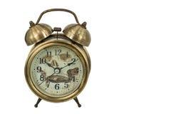 Old vintage gold alarm clock Stock Images