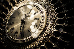 Old vintage gold clock Stock Images