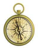 Old vintage gold compass nautical isolated Stock Images