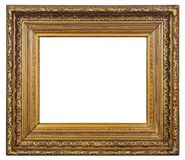 Old vintage golden frame on a white background. Old vintage golden art frame on a white background, isolated Stock Images