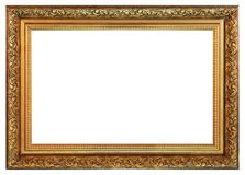 Old vintage golden frame on a white background. Old vintage golden empty frame on a white background, isolated Royalty Free Stock Image