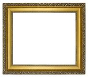 Old vintage golden frame on a white background. Old vintage golden ornamental frame on a white background, isolated Royalty Free Stock Photos