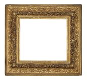 Old vintage golden frame on a white background. Old vintage golden square frame on a white background, isolated Stock Photos