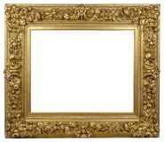 Old vintage golden frame on a white background. Old vintage ornamental golden frame on a white background, isolated Royalty Free Stock Image