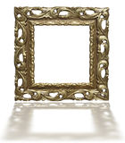 Old vintage golden picture frame isolated on white Royalty Free Stock Photo