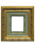 Old vintage golden picture frame isolated on white Stock Image