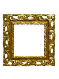 Old vintage golden picture frame isolated on white Stock Photography