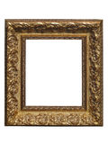 Old vintage golden picture frame isolated on white Royalty Free Stock Images