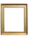 Old vintage golden picture frame isolated on white Stock Images