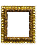 Old vintage golden picture frame isolated on white Royalty Free Stock Image