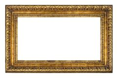 Old vintage golden frame on a white background. Old vintage golden rectangle frame on a white background, isolated stock photos