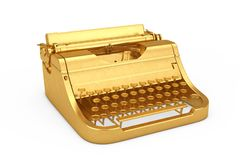 Old Vintage Golden Retro Typewriter. 3d Rendering stock photography