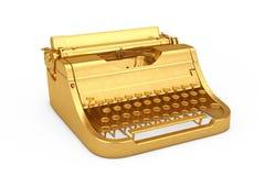 Old Vintage Golden Retro Typewriter. 3d Rendering stock photography