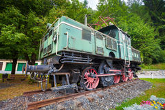 Old vintage green electric locomotive Royalty Free Stock Photography