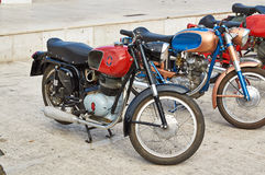 Old Vintage green motorcycle on the streets. Of Italy, Sinegalia, Ancona Stock Photo