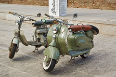 Old Vintage green motorcycle on the streets. Of Italy, Sinegalia, Ancona Stock Photos