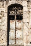 Old vintage green wooden door Royalty Free Stock Images