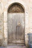Old vintage green wooden door Stock Photo