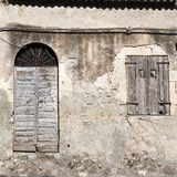 Old vintage green wooden door and window Royalty Free Stock Photography
