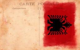 Old Vintage Grunge Postcard Albania Flag Stock Photos