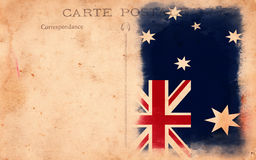 Old Vintage Grunge Postcard Australia Flag Stock Photos
