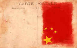 Old Vintage Grunge Postcard China Flag Stock Photography