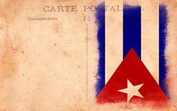 Old Vintage Grunge Postcard Cuba Flag Stock Photography